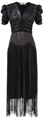 Rodarte Fringed Ruched Lame Dress - Black