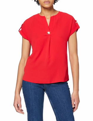 Dorothy Perkins Women's Red Button V-Neck T-Shirt 12