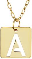 Italian Gold 14K Initial Square Tile Pendant Necklace
