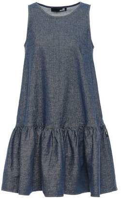 Love Moschino Flared Gathered Denim Mini Dress
