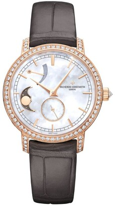 Vacheron Constantin Pink Gold and Diamond Traditionnelle Moon Phase Watch 36mm