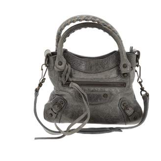 Balenciaga Classic Metalic Grey Leather Handbags