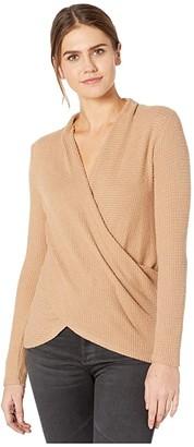 1 STATE Long Sleeve Cross Front Brushed Waffle Knit Top (Wild Oak) Women's Sweater