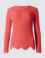 Marks and Spencer Pure Cotton Scallop Hem Crew Neck Jumper