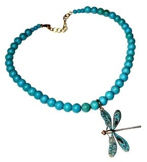 Elaine Coyne Galleries Handmade Patina Detailed Dragonfly on Turquoise Necklace
