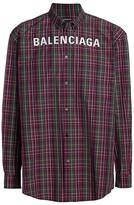 Balenciaga Embroidered Logo Check Shirt