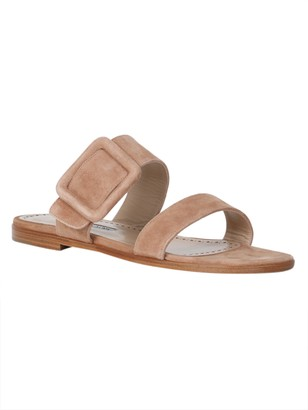 Manolo Blahnik flat leather buckle sandals