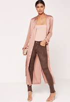 Missguided Faux Suede Skinny Trousers Brown