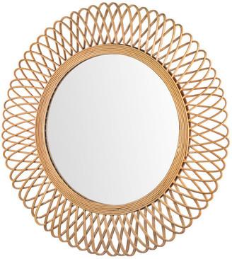 "Crystal Art Woven Rattan Sunburst Accent Wall Mirror 32"""