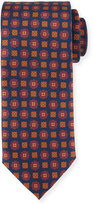 Peter Millar Autumnal Flower-Print Silk Tie, Navy