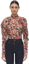 Rotate Floral Printed Top W/puff Sleeves
