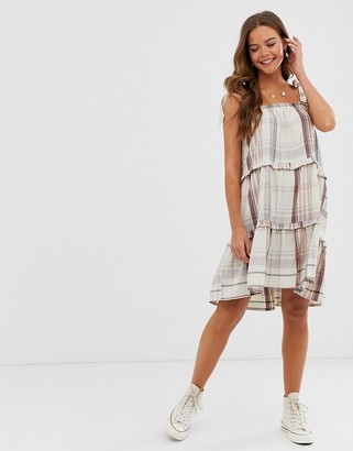 Neon Rose tiered smock dress with tie shoulders in check-Beige