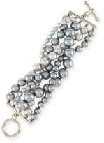 Kenneth Jay Lane Pearly Five-Row Bracelet, Gray