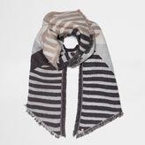 River Island Womens Grey block stripe jacquard scarf
