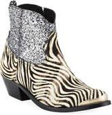 Golden Goose Young Zebra Glitter Western Booties