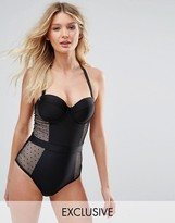 Wolfwhistle Wolf & Whistle Dot Mesh Tummy Control Swimsuit Dd-G Cup