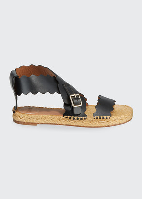 Chloé Lauren Scalloped Flat Espadrille Sandals