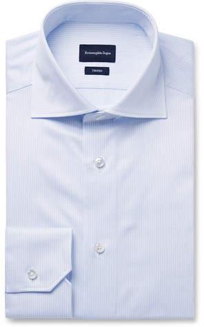 0f6364be Blue Trofeo Slim-Fit Cutaway-Collar Pinstriped Cotton-Poplin Shirt - Men -  Blue