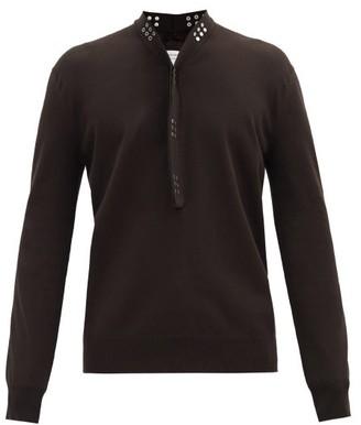 Bottega Veneta Studded Loop-collar Cotton-blend Jersey T-shirt - Brown