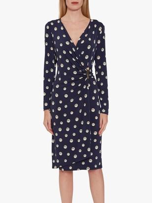 Gina Bacconi Pearla Jersey Spot Wrap Dress, Navy