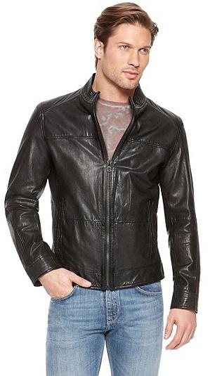 HUGO BOSS Jips Stand Collar Leather Jacket - Black