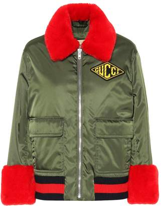 Gucci Faux fur-trimmed bomber jacket