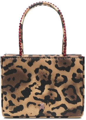 Amina Muaddi Leopard Print Tote Bag With Crystal Embellishment