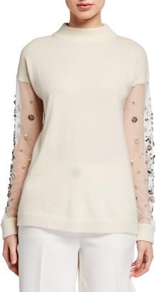 Neiman Marcus Cashmere Mock Neck Embellished Mesh Sleeve Sweater