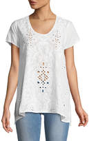 Johnny Was Wickie Short-Sleeve Embroidered Eyelet Blouse