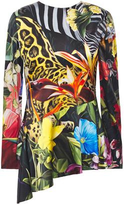 Roberto Cavalli Asymmetric Printed Stretch-silk Satin Peplum Top