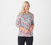 Denim & Co. Printed Textured Knit Button-Front 3/4-Sleeve Top