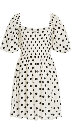 Faithfull The Brand Ilaria Polka Dot Crepe Mini Dress