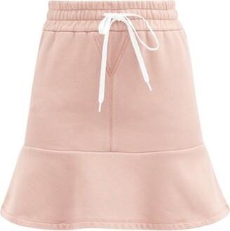 Miu Miu Logo-print Cotton-jersey Mini Skirt - Pink