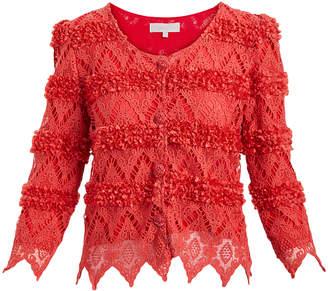 Pretty Angel Women's Cardigans RED/RED(RD/RD) - Red Rosette Crochet Linen-Blend Crop Cardigan - Women
