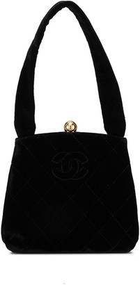 Chanel Pre Owned Diamond Quilted Velvet Tote