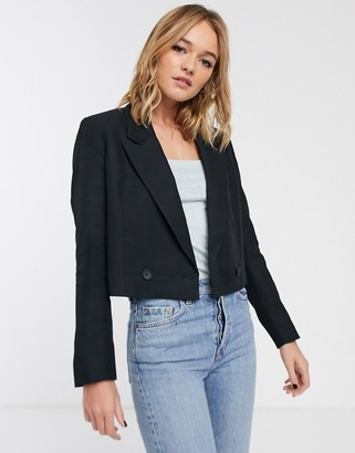 And other stories & cropped tuxedo blazer in black
