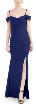 Night Way Nightway Crisscross-Back Cold-Shoulder Gown