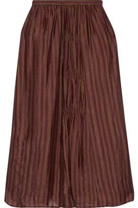 Mes Demoiselles Chaton Gathered Striped Silk-habotai Midi Skirt