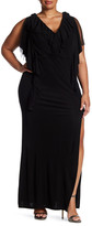 ABS by Allen Schwartz Draped in Ruffles Gown (Plus Size)