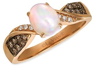 LeVian Chocolatier 14K Strawberry Gold, Neopolitan Opal, Chocolate Diamond Vanilla Diamond Ring
