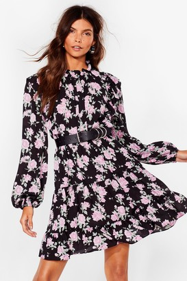 Nasty Gal Womens Grow Our Worth Floral Mini Dress - Black - 4