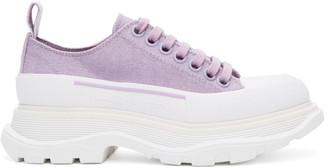 Alexander McQueen SSENSE Exclusive Purple Tread Slick Platform Low Sneakers