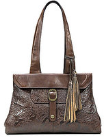 Patricia Nash Burnished Tooled Lace Collection Spello Tasseled Frame Satchel