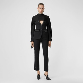 Burberry Satin Stripe Wool Tailored Trousers