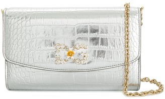 Dolce & Gabbana Crocodile Embossed Metallic Clutch
