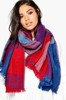 Boohoo Ellie Colour Block Blanket Scarf