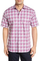 Thomas Dean Trim Fit Short Sleeve Twill Plaid Sport Shirt