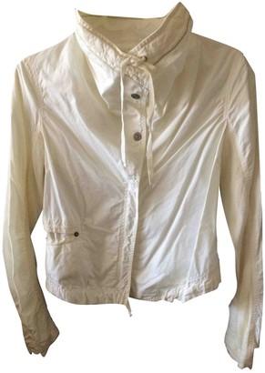 Ikks White Cotton Leather Jacket for Women
