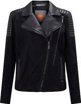 HUGO BOSS BOSS Orange Jamela Slim Fit Suede Leather Biker Jacket, Dark Blue