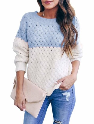 Cassiecy Women's Jumper Casual Color Block Knitted Sweater Loose Crewneck Hollow Long Sleeve Pullover (M